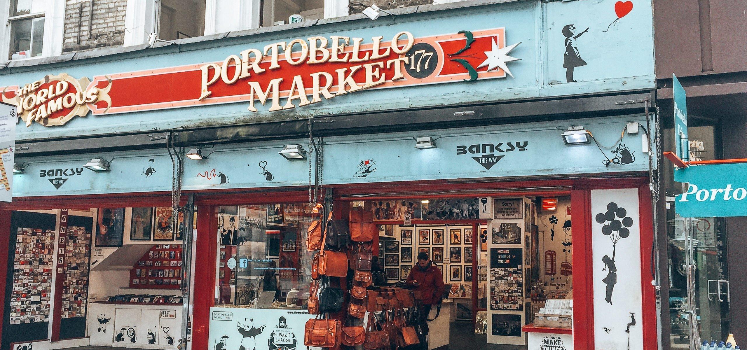 The Portobello Road Market merchandise store, London