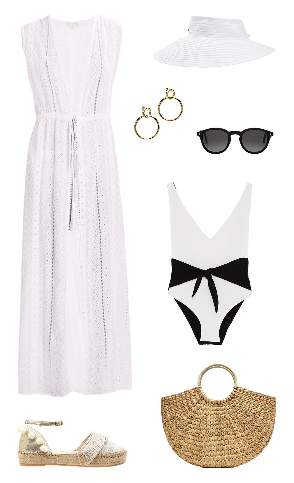 Hat, dress, bikini, sunglasses, check!