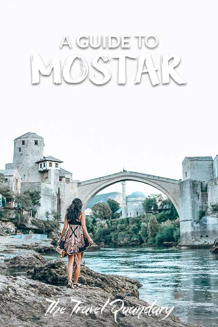 Pin Photo: Looking up at the Stari Most during one day in Mostar