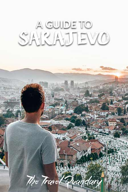 Pin to Pinterest: Looking out over Sarajevo from Yellow Bastion at sunset