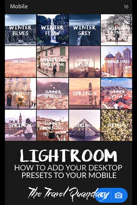A screenshot of The Travel Quandary Lightroom Mobile Presets