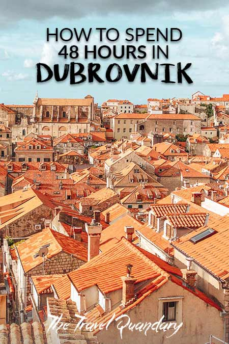 Pin to Pinterest: Overlooking the red roofs in the Old Town of Dubrovnik, Croatia