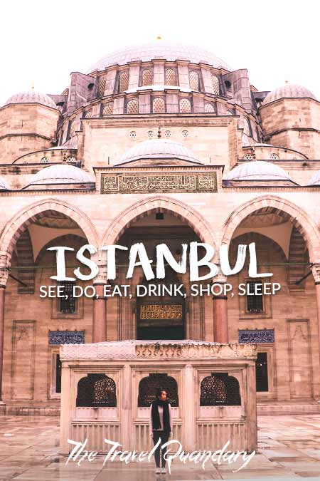 Pin to Pinterest: Standing in the courtyard of the Suleymaniye Mosque, How to spend 4 days in Istanbul