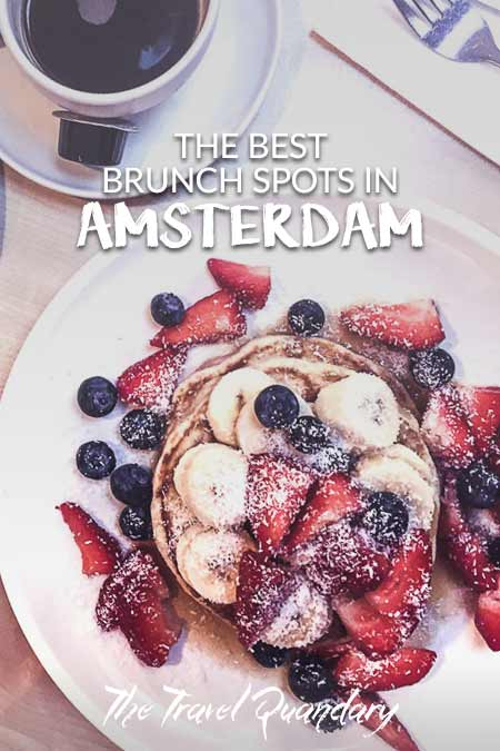 Pancakes topped with bananas, blueberries, strawberries and coconut at Mook Pancakes, Amsterdam, The Netherlands