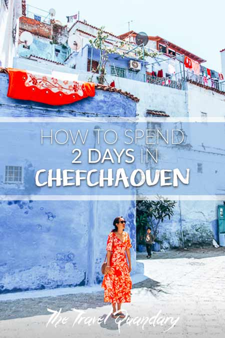 Pin to Pinterest: Jasmine of The Travel Quandary stands in one of the squares of Chefchaouen, Morocco