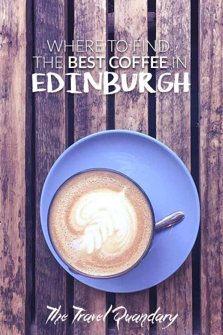 A flat white on a blue saucer on a bench seat at The Milkman, one of the best 5 specialty coffee shops in Edinburgh