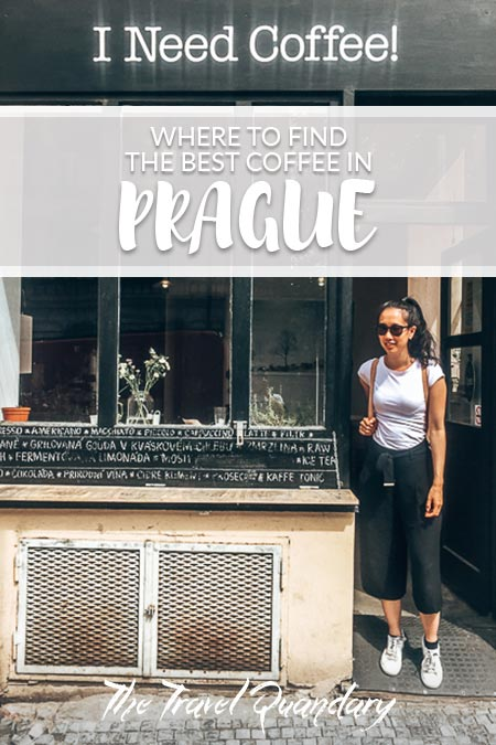 Pin to Pinterest: Jasmine stands outside I Need Coffee!, Coffee in Prague