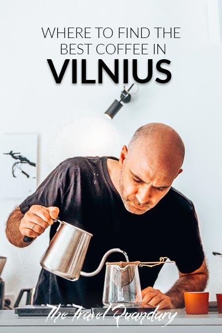 Emanuelis of Crooked Nose & Coffee Stories pours hot water to prepare Nerodrip Coffee, Coffee in Vilnius
