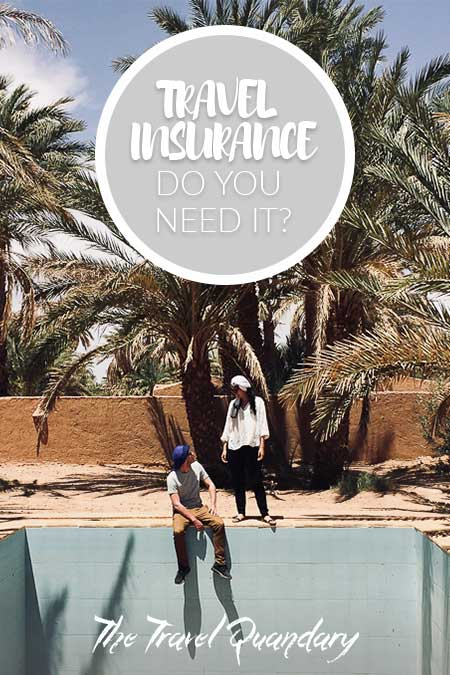 Buying Travel Insurance: A couple sitting on the edge of an empty pool surrounded by palm trees, Morocco