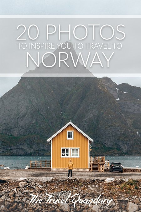 Pin Photo: Standing in a yellow jacket in front of the famous yellow house in Hamnoy, Lofoten Islands, Norway