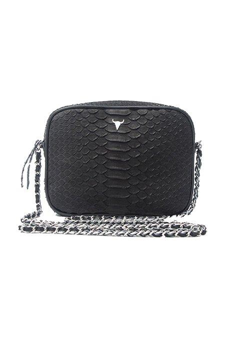 Le Petit Cartel - Giulia Python Black Handbag