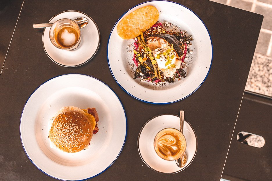 Bacon Burger and breakfast bowl with hash brown extras at Bluntys, Brunch in Brisbane
