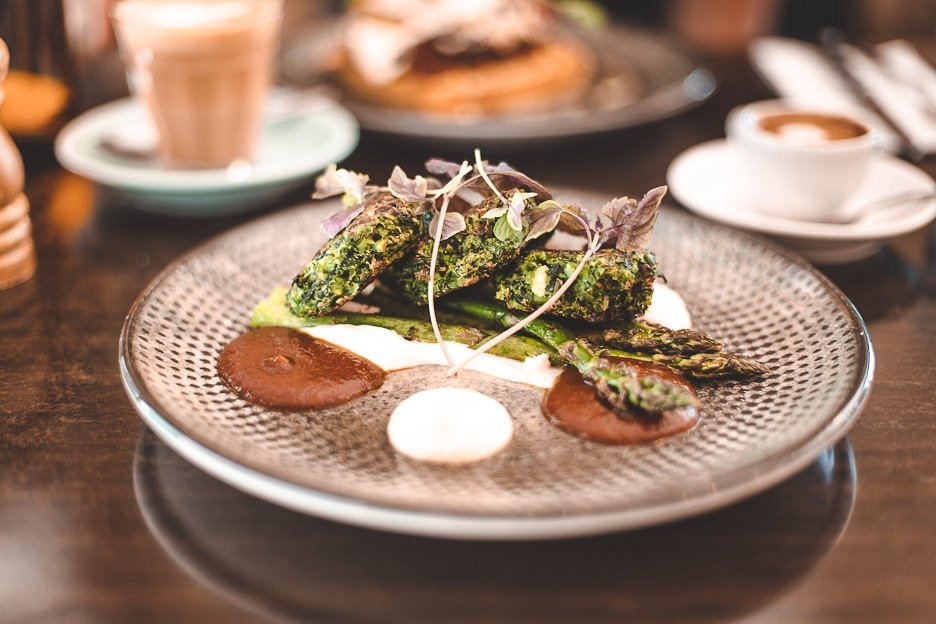 Garden pea & ricotta fritters with asparagus at Lady Marmalade Cafe, brunch in Brisbane