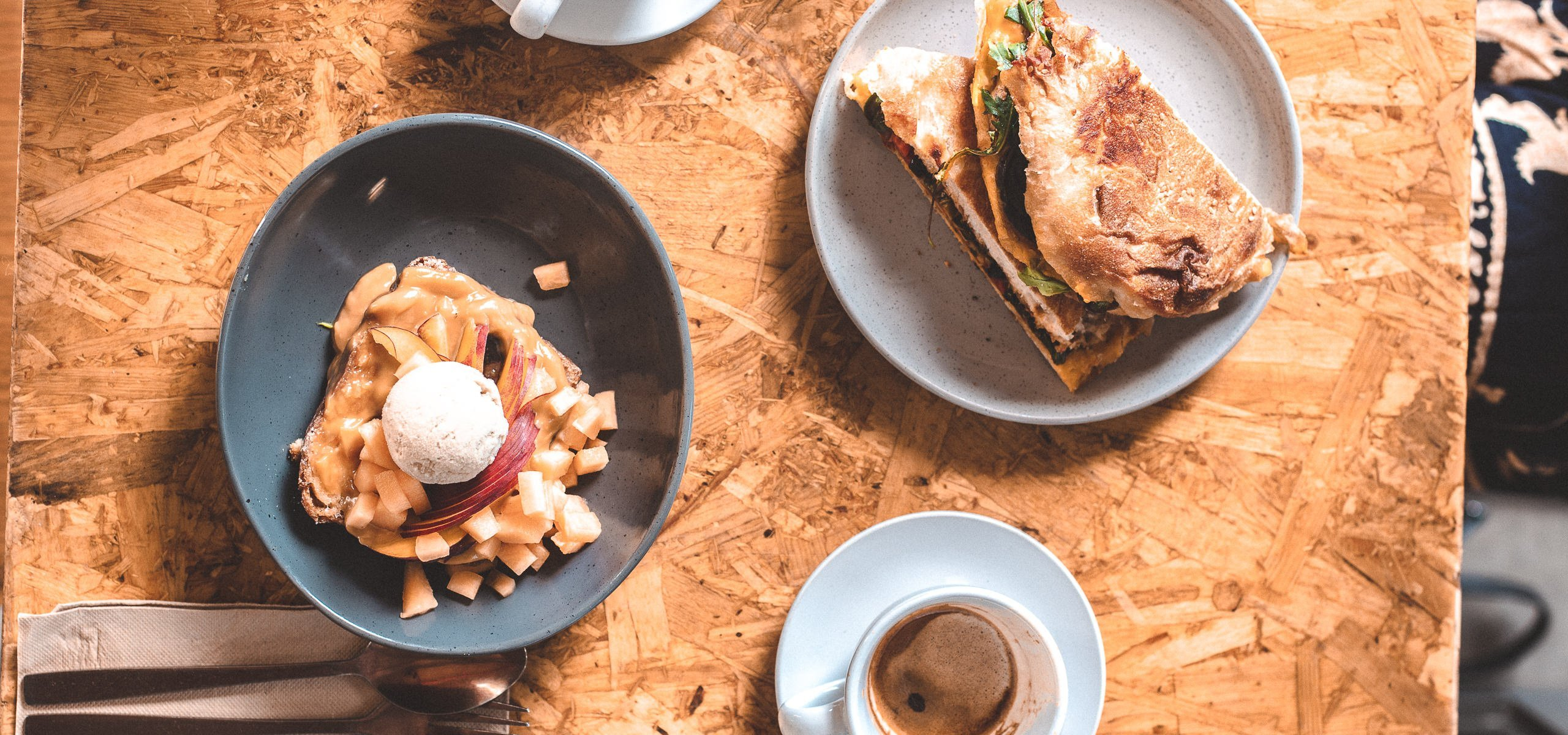 Brioche french toast with matcha ice cream and tempeh toastie at Grown West End, Best Brunch Brisbane CBD and Inner Suburbs