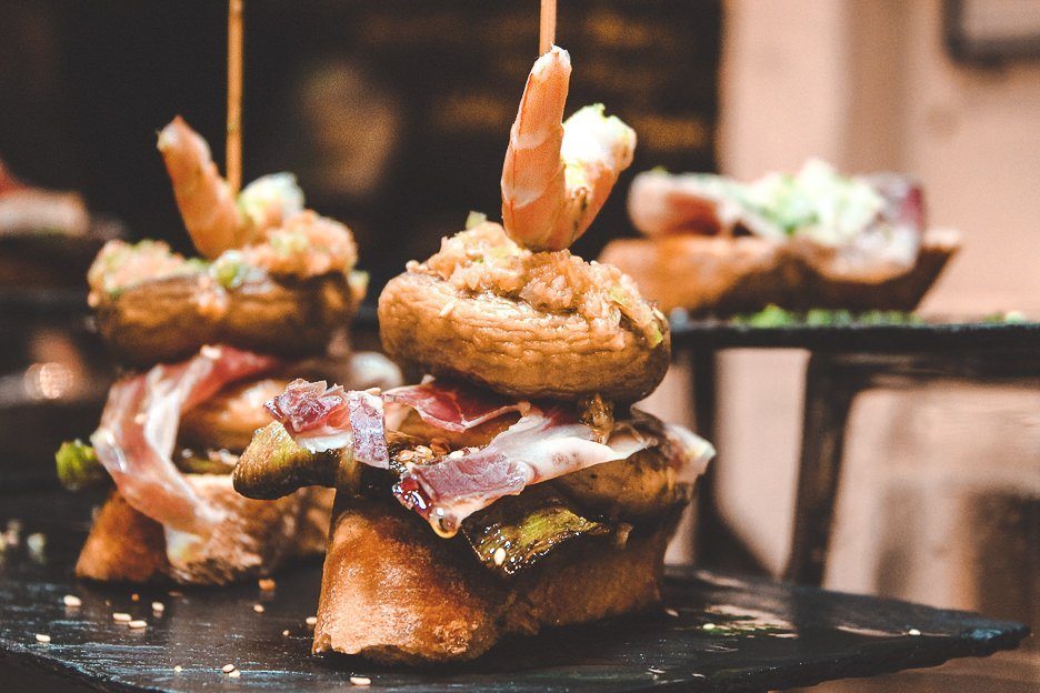 Delicious layered pintxos in San Sebastian, Spain
