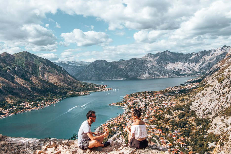 Lunch at St John's Fortress overlooking the Bay of Kotor, Montnegro