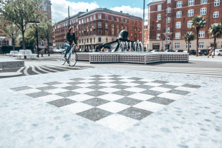 Chess board Superkilen Park - Copenhagen City Guide, Denmark