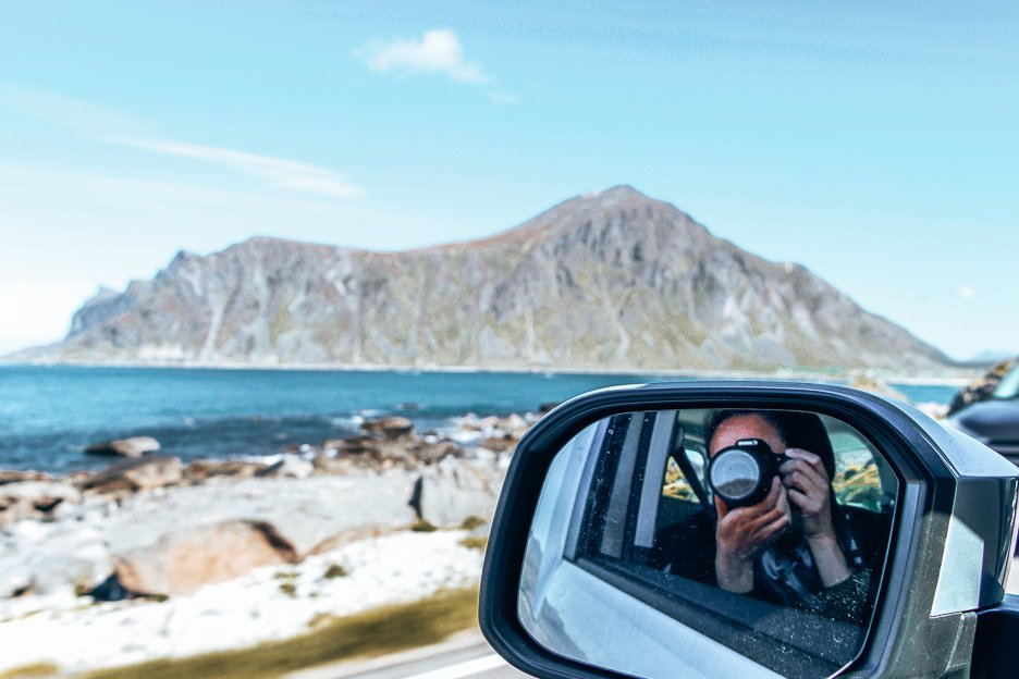 Snapping photos of the Lofoten Islands on the move, Norway