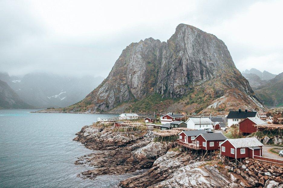 Red houses of Hamnoy under moody skies - Lofoten Islands, Norway