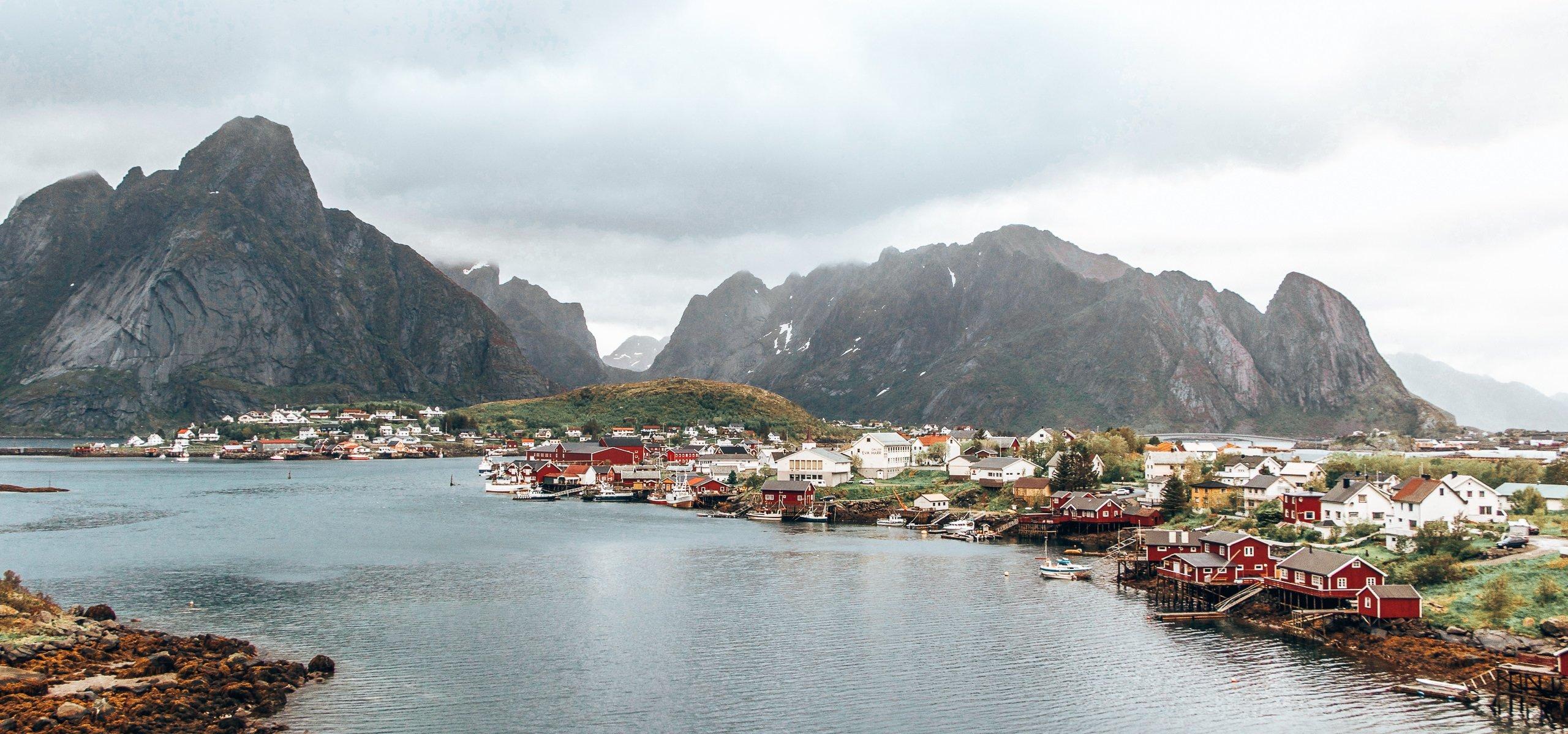 The township of Reine under grey skies - Lofoten Islands, Norway