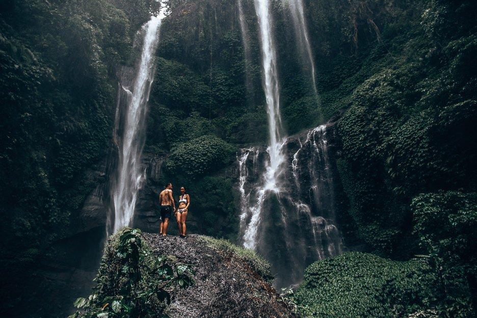 Standing under Sempulkul Waterfall, Bali Gallery