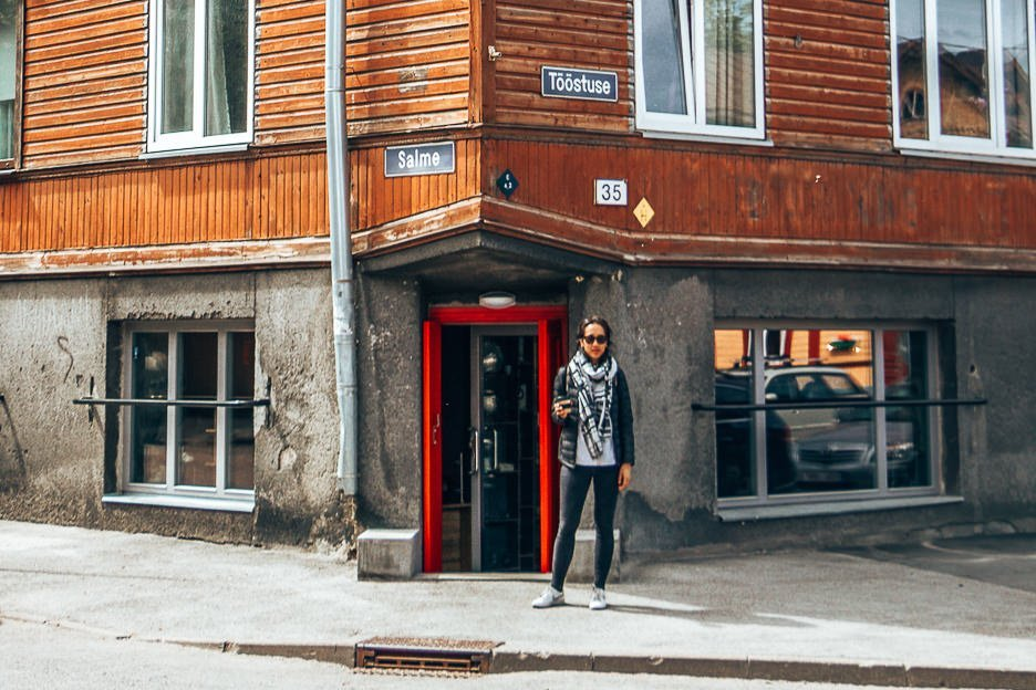 Jasmine stands outside the shopfront of T35 Bakery & Specialty Coffee, Tallinn