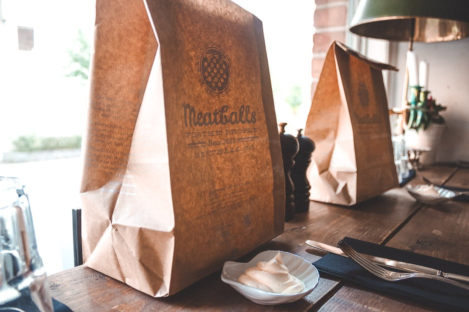 A takeaway paper bag ready for delivery at Meatballs for the People in Stockholm, Sweden