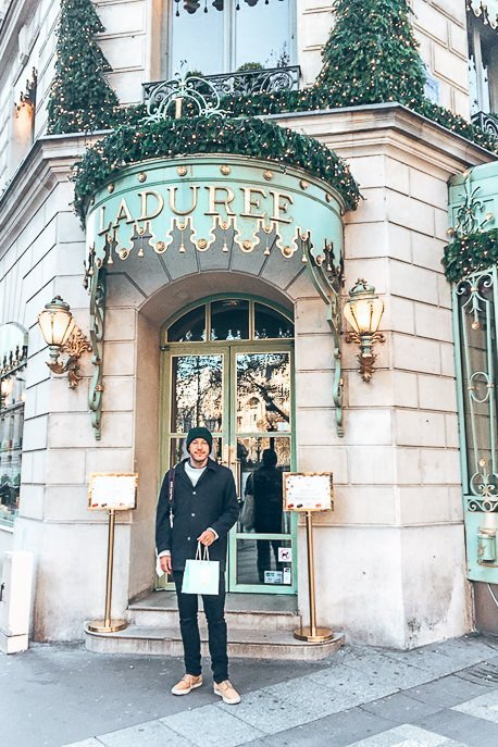 Walking out with treats from La Duree, Patisserie in Paris