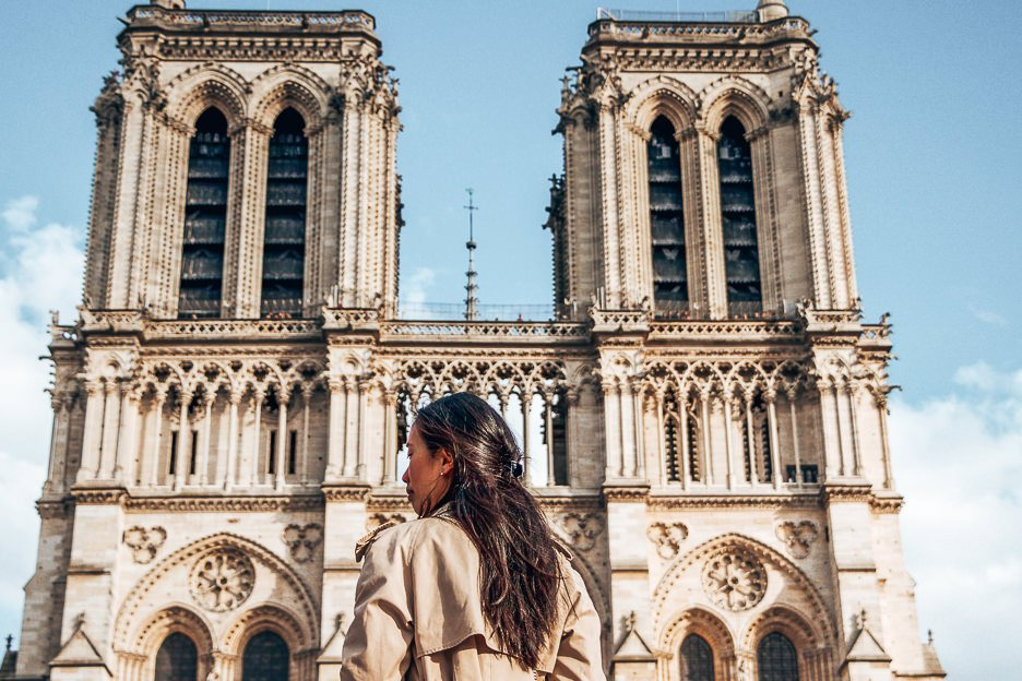 Outside the Cathedrale de Notre Dame, Paris