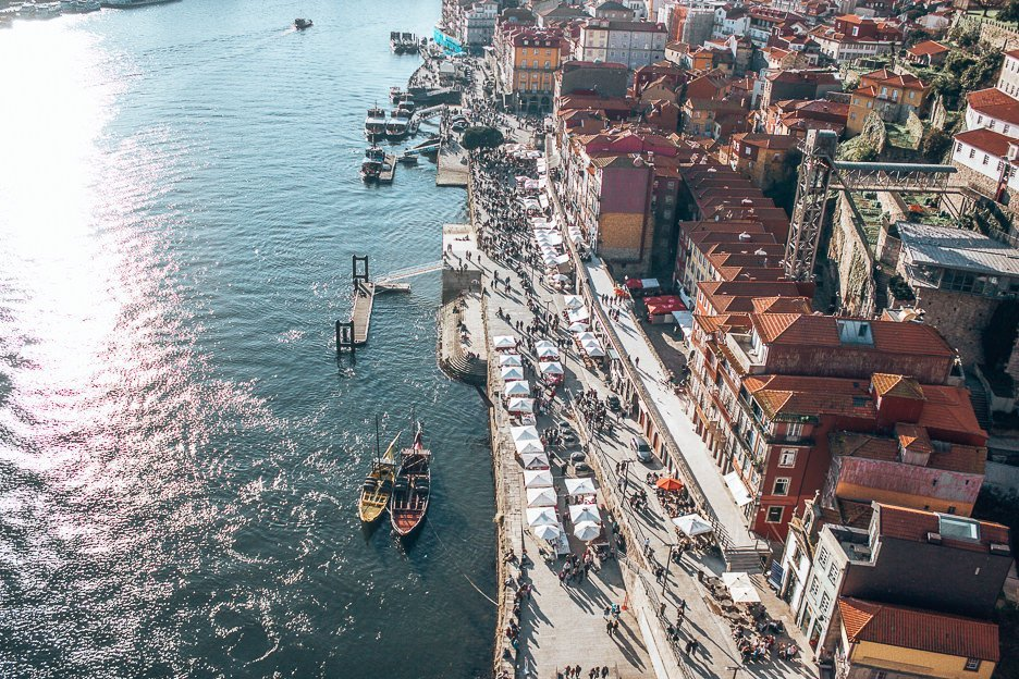 Looking down at the river and port of Porto