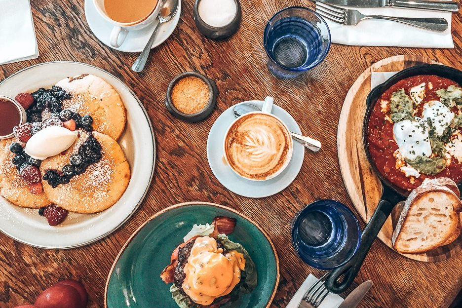 Brunch spread at Riding House Cafe, London