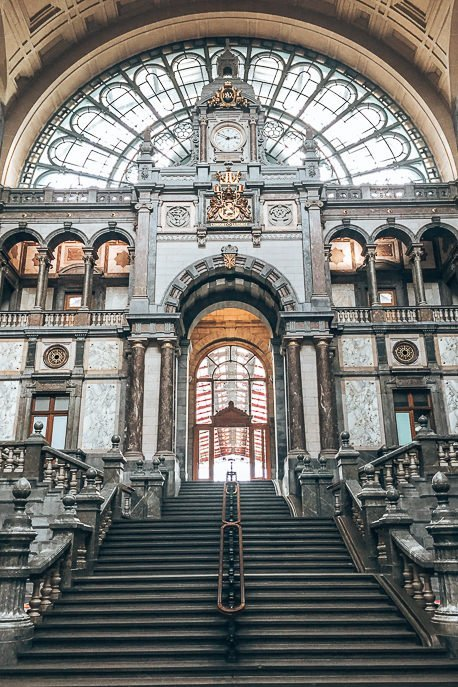 Interior of Antwerp Central station, Antwerp Belgium