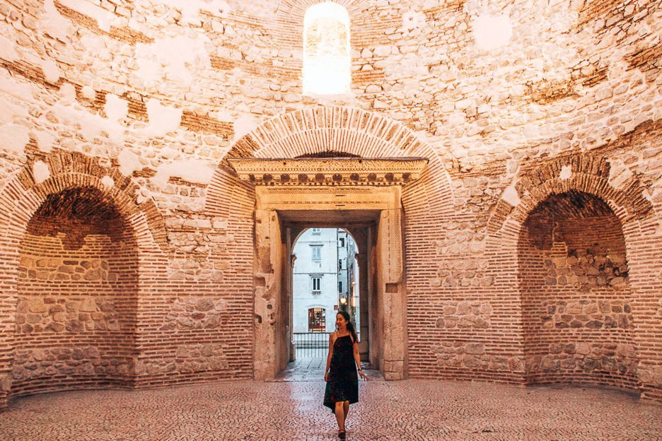 Exploring old ruins within Diocletian's Palace, Split Croatia