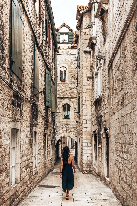 Wandering white marble and stone alleyways in Split, Croatia
