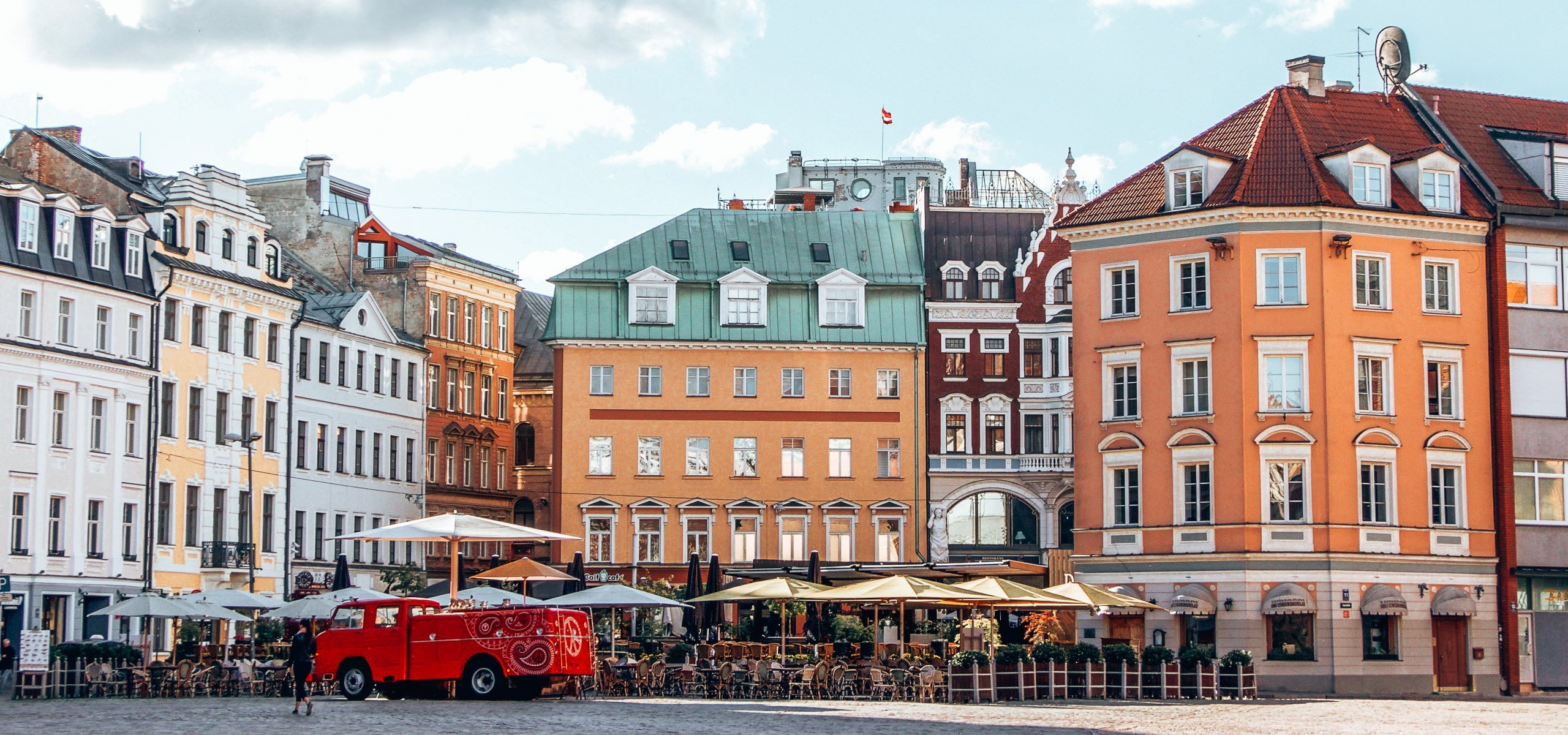 Colourful facades in the Old Town of Riga, Latvia