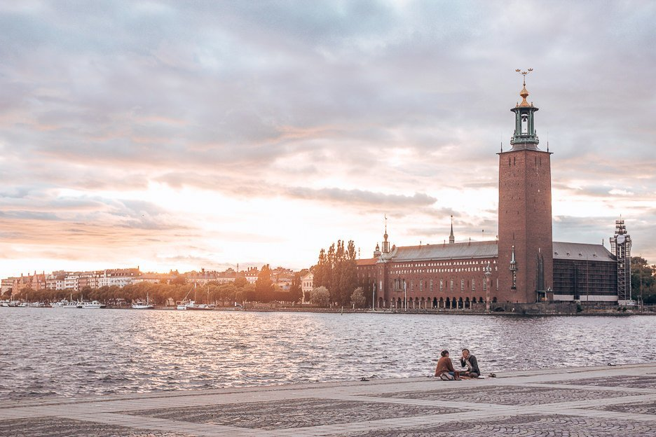 Watching the sunset over Stockholm by the water, Sweden