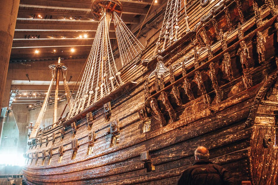 The restored preserved ship in the Vasa Museum - Stockholm, Sweden