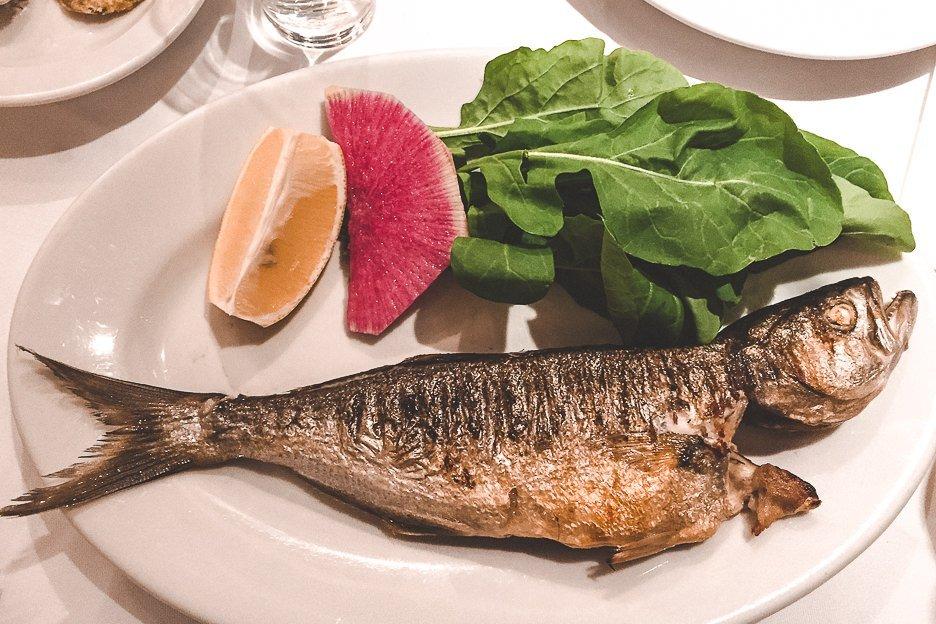 Whole fish for dinner at Karaköy Lokantası, Istanbul