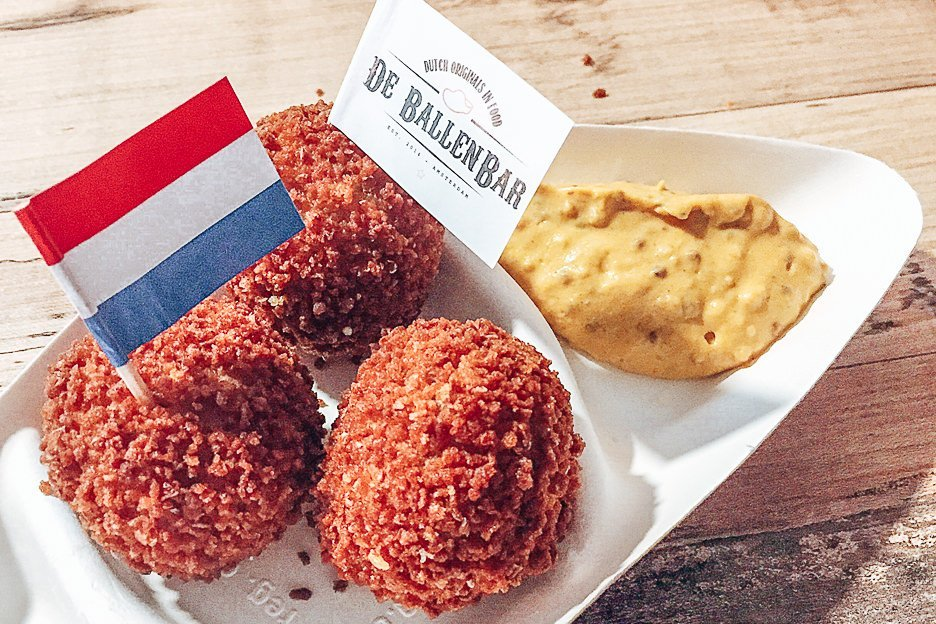 Traditional bitterballen with mustard, Amsterdam, The Netherlands