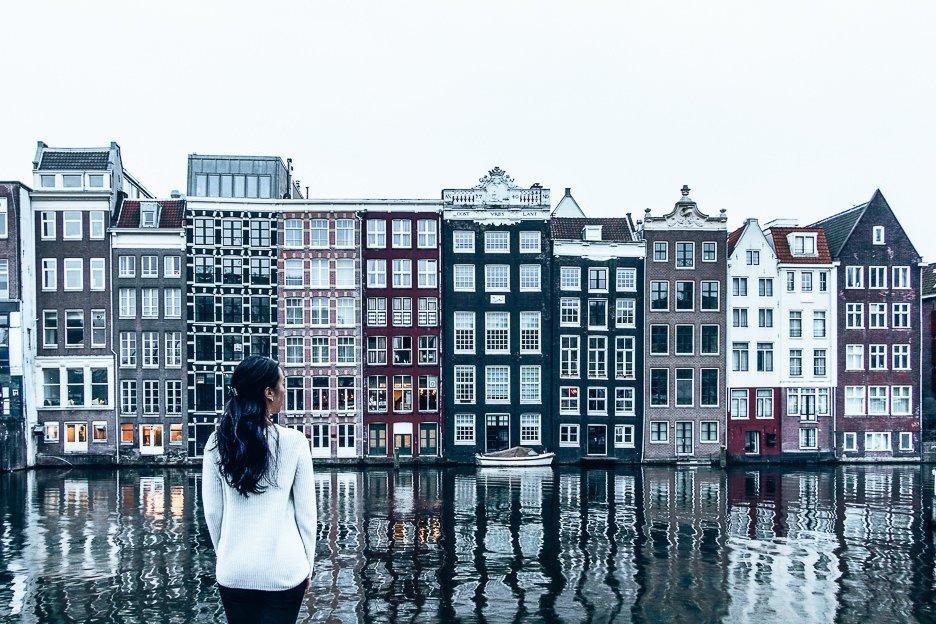 Facing the gingerbread houses at Damrak, Amsterdam