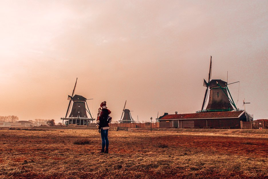 Sunrise in front of the windmills at Kinderdijk, Amsterdam