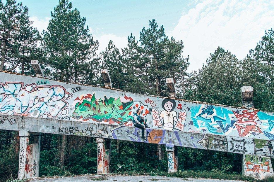 Graffiti on the abandoned bobsled track in Sarajevo, Bosnia & Herzegovina