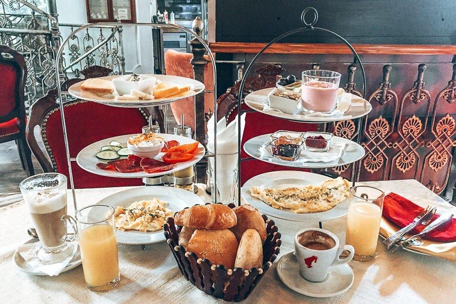 Delicious breakfast spread at Cafe Weiner in Sarajevo, Bosnia & Herzegovina