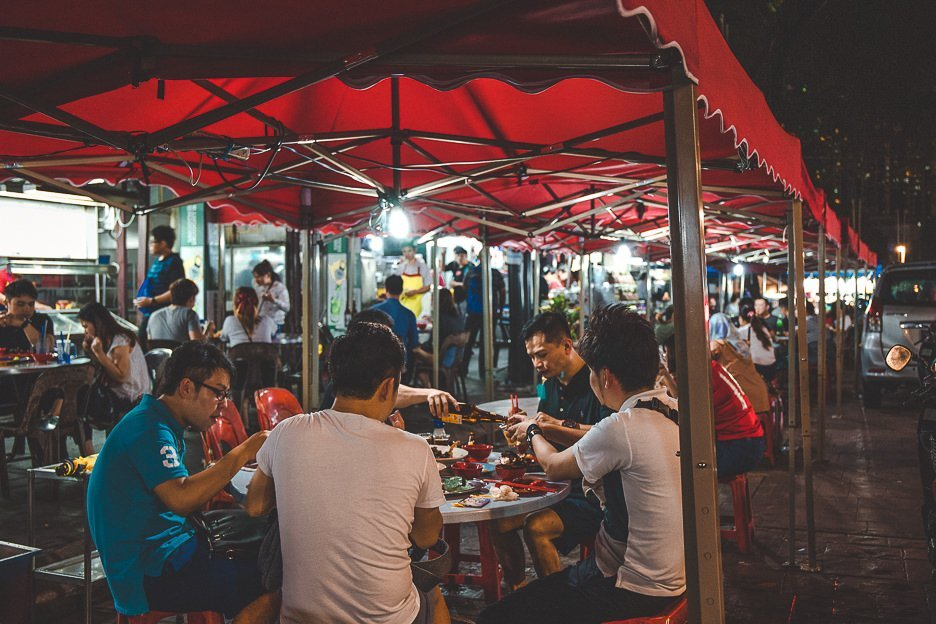 Hungry diners seated outside Wong Ah Wah