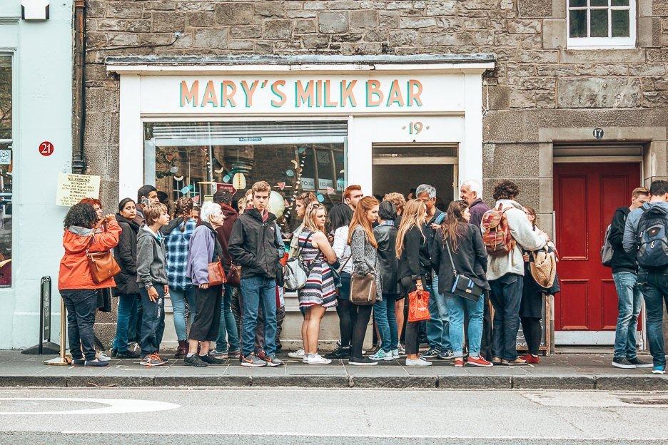 The queue outside Mary's Milk Bar, Edinburgh