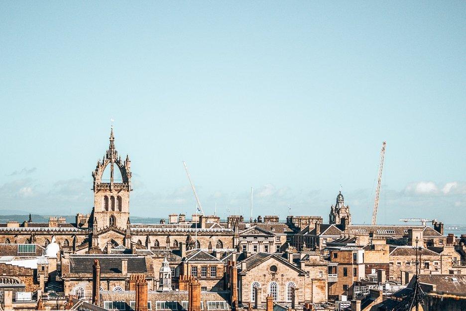 The rooftops of the city under a blue sky, Edinburgh