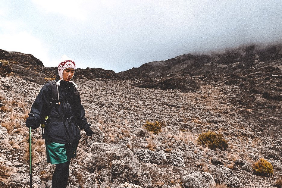 Navigating the moorlands on Mt Kilimanjaro along the Machame route
