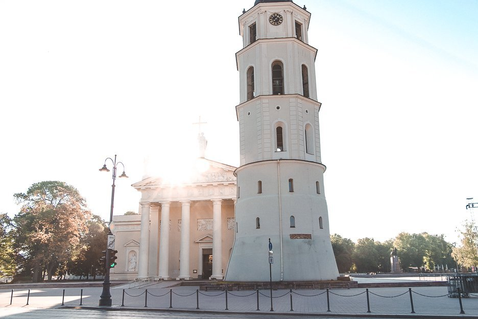 Sunrise over the top of Vilnius Cathedral & Bell Tower, Vilnius