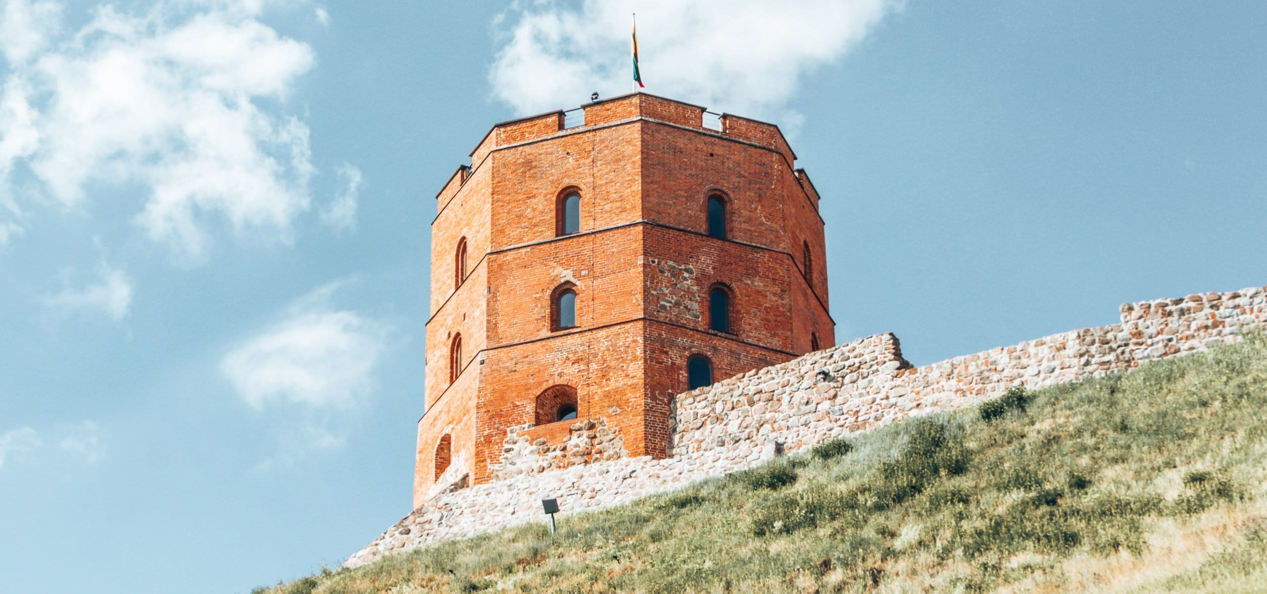 The view of Gediminas Castle Tower from below on a clear day, Vilnius, Lithuania