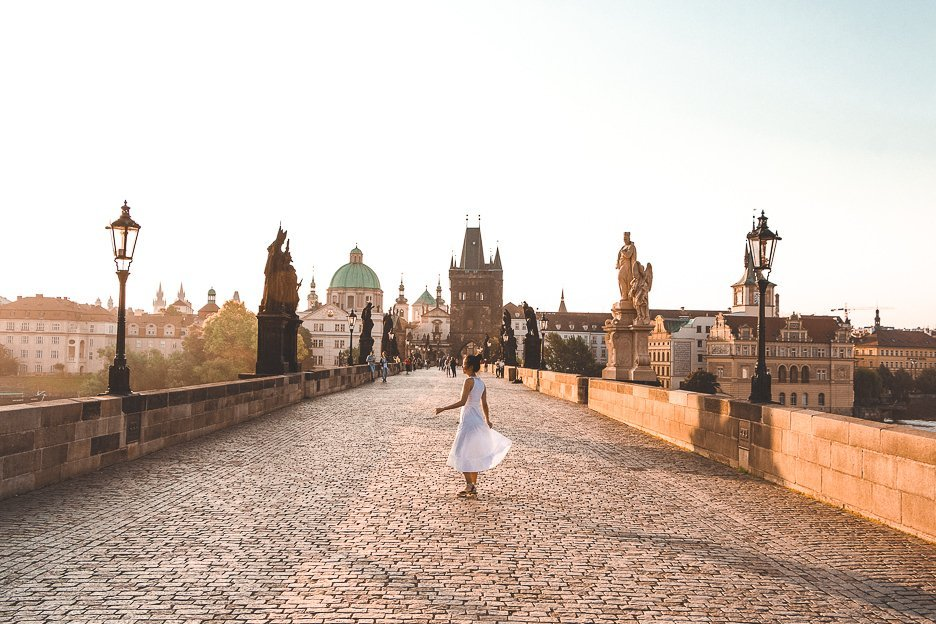 Jasmine twirling on the Charles Bridge in the early morning, Prague City Guide